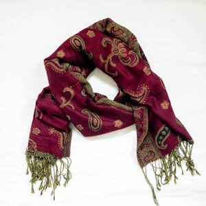 Burgundy and Gold Women's Scarf